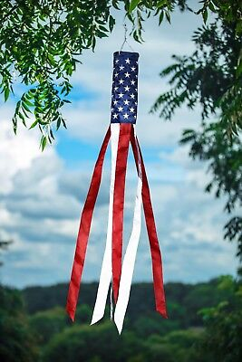 """Embroidered Stars American Flag Windsock 60"""" Show USA Patriotic Support"""