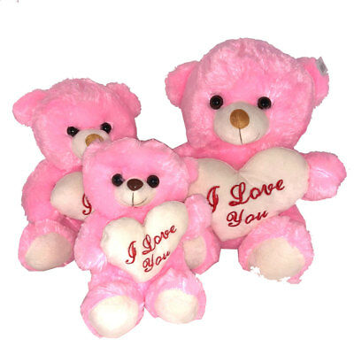 Large Pink Teddy Bear With I Love You Heart 3 Sizes Mothers Day Gift Ideal Plush