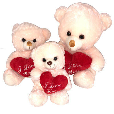 Cream & Pink Teddy Bear With I Love You Heart 3 Sizes Mothers Day Gift Plush