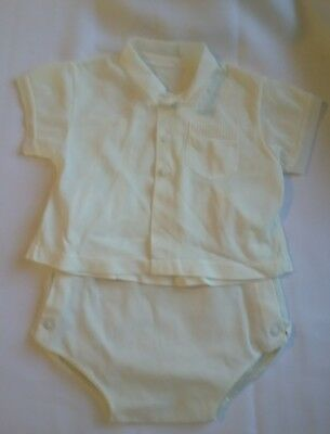 2 VTG Christening outfits*Girls dress/slip & Boys top and plastic lined pants