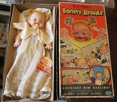 Old Vintage Ideal Dick Tracy's Bonny Braids Rubber Doll In Orig Box W Wrist Tag