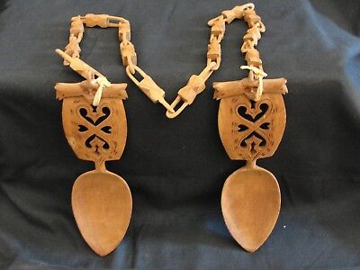 Antique Norwegian Hand Carved Wedding Spoons with Chain