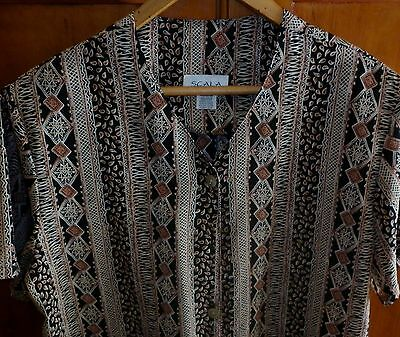 1980s VINTAGE WOMENS TRIBAL PRINT BLOUSE SIZE 20  IN EXCELLENT CONDITION