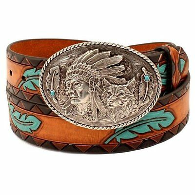 Ariat Women's Feather & Aztec Tan & Turquoise Western Belt A1527208