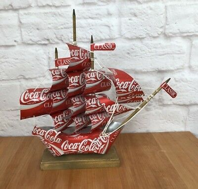 VINTAGE Coca Cola Can Sail Boat Ship Idaho Custom Handmade Artwork 1991 Decor