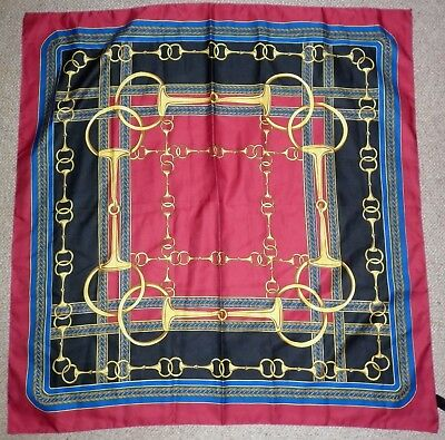 Vintage Italian  Polyester Stirrup Print  Scarf Good Condition