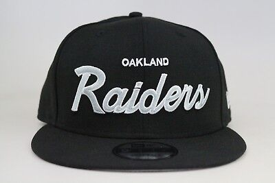 42cbe489aeb Oakland Raiders Black Black Gray White Basic NFL New Era 9Fifty Snapback  Hat NEW
