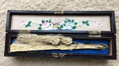 Antique Carved Chinese Silk Fan with Lacquered Box