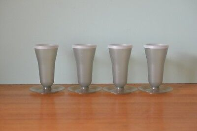 Retro Tupperware plastic cups with lids picnic  grey vintage caravanning