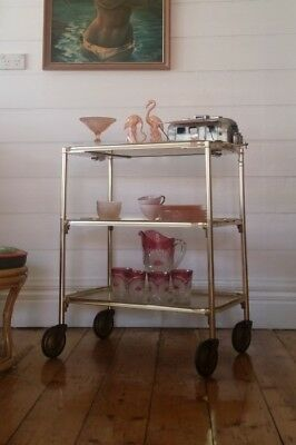 Vintage gold trolley Hollywood Regency Carefree England mid century