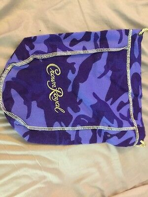 NEW  Crown Royal Camo Camouflage Felt Cloth Drawstring Purple Bag