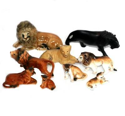 Vintage group of 9 china & wood lion lioness & cub figurine ornaments