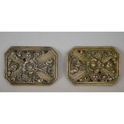 Pair French Bronze Art Deco Decorative Cabinet Plaques Parts Flowers