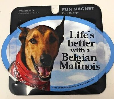 LIFE'S BETTER WITH AN BELGIAN MALINOIS MAGNET Dogs,Gifts, Cars, Trucks. Lockers