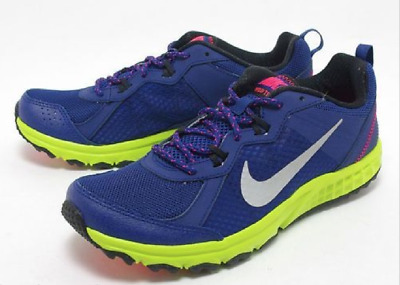 new concept ba47f 52372 MENS NIKE WILD TRAIL RUNNING ATHLETIC SHOES BLUE/LIME 642833 400 size 10  (28cm)