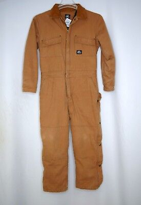 Polar King by Key Coveralls men's brown duck 100% cotton Size Youth  L