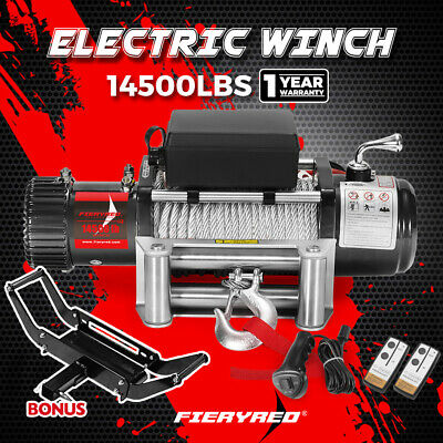 14500LBS Electric Winch Steel Cable Wireless Remote&Winch Mount 12V 4WD 12000lb