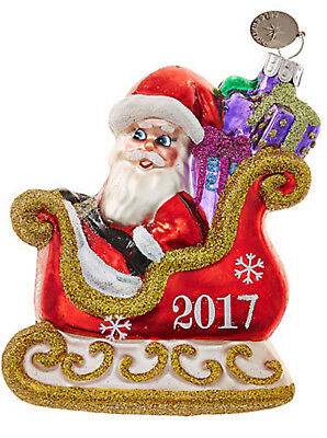 Radko 2017 Celebrations Santa In Sleigh Christmas Ornament Dated 2017 ~ Nib!