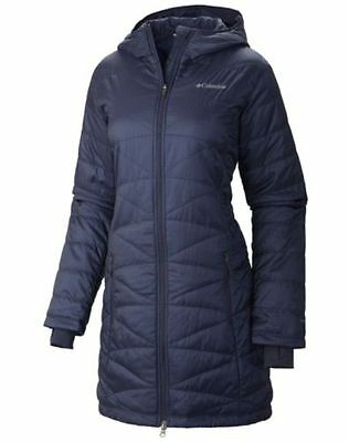 NEW Women Columbia Mighty Lite Hooded repellent long Jacket Nocturnal