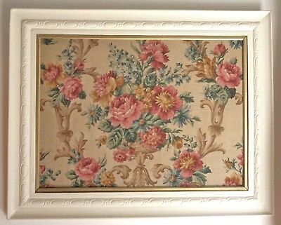Vintage Framed Linen Fabric Flower Picture Cream Painted wood frame