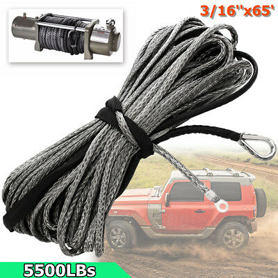 3/16'' X 65' Synthetic 5500 lbs Winch Line Cable Rope with Sheath SUV ATV UTV