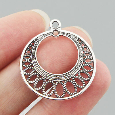 5 x Large Tibetan Silver Filigreework Hollow & Moon Charms Pendant for Findings