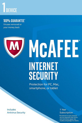McAfee Internet Security 2019 1 Geräte / 1Jahr Vollversion Antivirus