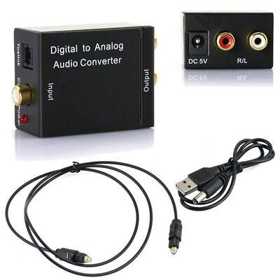 Digital Optical Coaxial Toslink Signal to Analog Audio Converter Adapter RCA EW