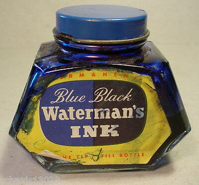 Waterman Ink Black Tip Fill Bottle Writing Pens Quality Refill 2 ounce oz