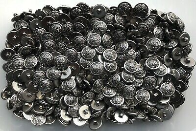 15mm 24L Antique Silver Filigree Flower Scroll Shank Jacket Costume Buttons K206