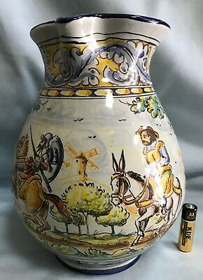A Jug wine or water of Spanish Pottery QUIXOTE handmade & hand painted Talavera