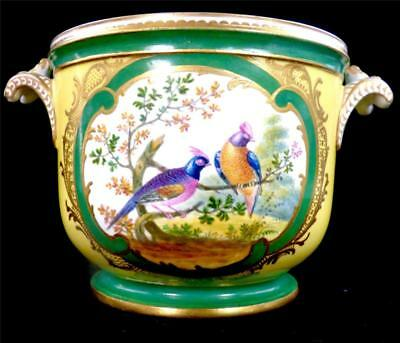 Fine Antique French Sevres Style Porcelain Cache Pot Flowers Yellow Ground