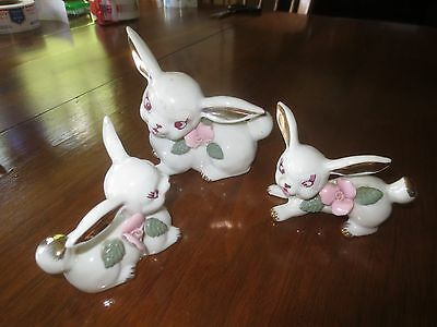 3-Pc. Vintage CHASE Hand Painted China MOM & BABY BUNNIES FIGURINE SET - Japan