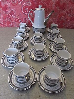 Chodziez China Set Teapot with 12 Cups & 12 Saucers Black on Silver Scrolling