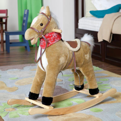 Beige Plush Rocking Horse Animal Neighing Sounds Moving Mouth Tail Ride On Toy