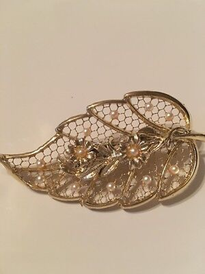 Vintage Filigree Leaf with Seed Pearls Brooch Pin Gold Tone Beautiful