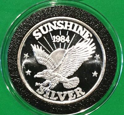 1984 Sunshine Mint Eagle Collectible Coin 1/2 Troy Oz .999 Fine Silver Round