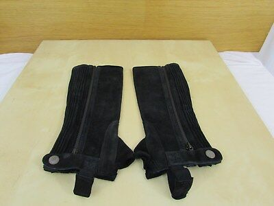 Shires Suede Half Chaps - Black - Size Child Small - New - Horse Riding