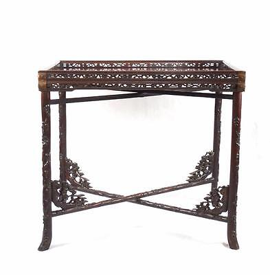 19th C Qing Dynasty Hardwood Travelling Table Folding Legs