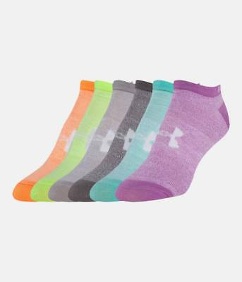 Under Armour Girls UA Big Logo Essential No Show 6 Pack of Socks