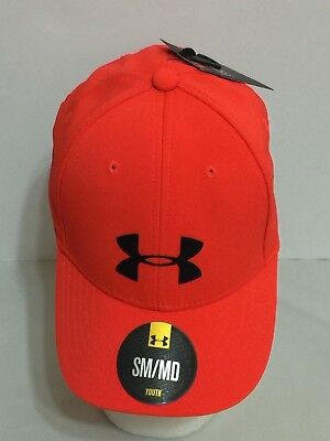 New With Tags Under Armour Boy's Youth Ua Stretch Fit Hats/cap-Sm /med-Orange