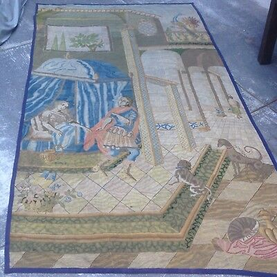 Large Antique Tapestry Romeo & Juliet Dogs Peacock 6'x 12' Handmade Aubusson?