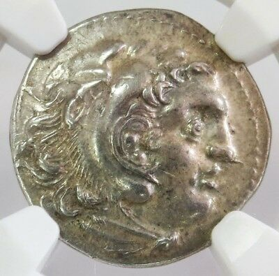 3rd CENTURY BC SILVER IONIA ISLE OF CHIOS DRACHM ALEXANDER III NGC ABOUT UNC.
