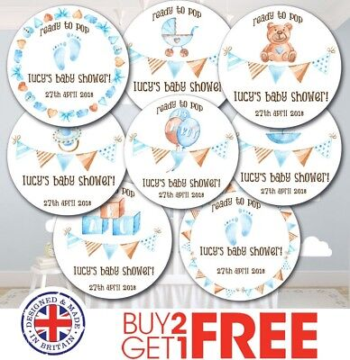 24x 40mm Personalised New Baby Shower Birth Boy Christening Cute Stickers/Label