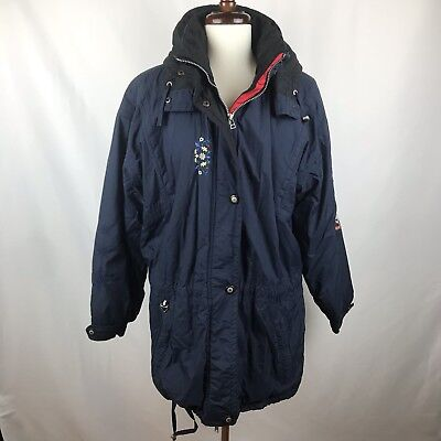 2a17ce1227 Vtg Obermeyer Womens Embroidered Puffer Nylon Insulated Ski Parka Coat Size  8