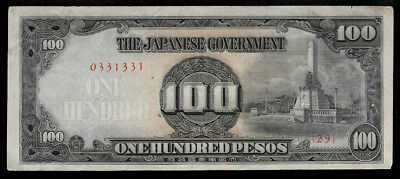 WWII Japanese Occupation Over Philippines 100 Pesos ND 1944 Block #29 @ VF+