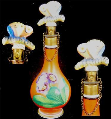 Antique 19Th Century French Miniature Porcelain Perfume Bottle Butterly Stopper
