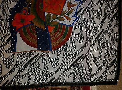 Vintage Funky Indian Print And Sequin Short Sari / Shawl Excellent Condition