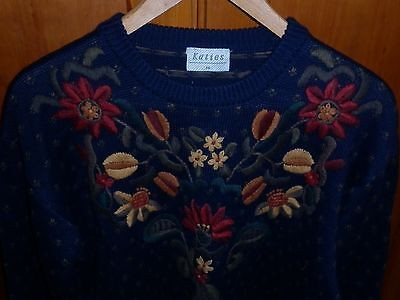 Vintage Embroidered Floral  Motif Jumper Size 14 Good Condition