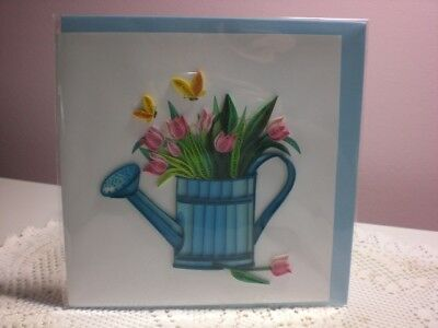 Quilling Cards LLC - 3D Water Pail of Tulips Note Card  (Happy Garden)